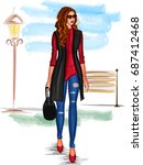 vector design of modern stylish ... | Shutterstock .eps vector #687412468