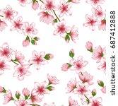 japanese cherry blossom vector... | Shutterstock .eps vector #687412888