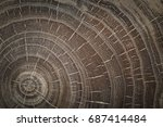 wood circle texture slice... | Shutterstock . vector #687414484
