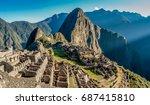 machu picchu panoramic view at...   Shutterstock . vector #687415810