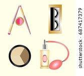 vector cosmetics alphabet | Shutterstock .eps vector #687417379