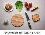 multiple ingredients combined... | Shutterstock . vector #687417784