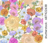 seamless floral backdrop of...   Shutterstock . vector #687422638