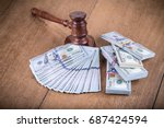 retro auction or judge wooden...   Shutterstock . vector #687424594