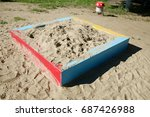 sandbox and fungus on the... | Shutterstock . vector #687426988