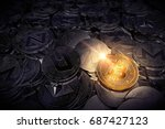 huge stack of physical cryptocurrencies with Bitcoin on the front as the leader of new virtual money. 3D rendering - stock photo