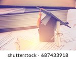 black graduation cap   hat  a... | Shutterstock . vector #687433918