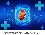 3d anatomy of human heart  | Shutterstock . vector #687434170