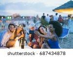 happy friends taking selfie... | Shutterstock . vector #687434878