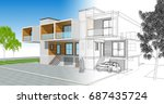 townhouse  3d illustration | Shutterstock . vector #687435724