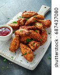 baked chicken wings with sesame ... | Shutterstock . vector #687437080