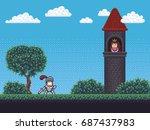 pixel art background scene with ... | Shutterstock .eps vector #687437983