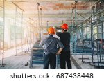 engineer discussing with... | Shutterstock . vector #687438448