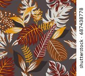 painted tropical exotic leaves... | Shutterstock .eps vector #687438778