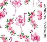 Stock vector beach image exotic wallpaper with a beautiful tropic pink flamingo and rose flowers seamless 687438799