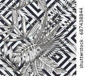 tropical leaves seamless... | Shutterstock .eps vector #687438844