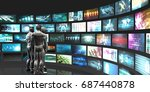 multimedia technology with... | Shutterstock . vector #687440878