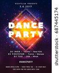 dance party poster vector... | Shutterstock .eps vector #687445174
