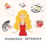 the concept is a busy mother... | Shutterstock .eps vector #687446419