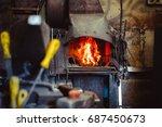 high precision hot forging... | Shutterstock . vector #687450673