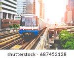 high speed rail travel is quick ...   Shutterstock . vector #687452128