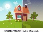 small cartoon house  sunny and... | Shutterstock .eps vector #687452266