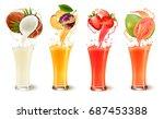 Set Of Fruit Juice Splash In A...