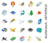 aviation icons set. isometric... | Shutterstock .eps vector #687459613