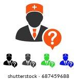 doctor status flat vector icon. ... | Shutterstock .eps vector #687459688