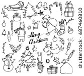 christmas doodle set  hand... | Shutterstock .eps vector #687460810