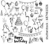 birthday party doodle set ... | Shutterstock .eps vector #687461026
