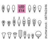 led light bulbs with e14 base ... | Shutterstock . vector #687462646