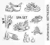 hand drawn set of spa... | Shutterstock .eps vector #687463024