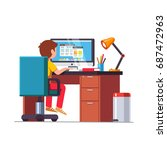 student boy sitting at home... | Shutterstock .eps vector #687472963