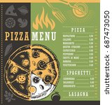 pizza menu document print... | Shutterstock .eps vector #687473050