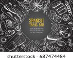 spanish cuisine top view frame. ... | Shutterstock .eps vector #687474484