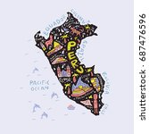 cartoon map of peru. vector...   Shutterstock .eps vector #687476596