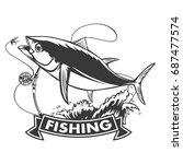 tuna big fishing on white logo... | Shutterstock .eps vector #687477574
