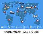 global network of cargo... | Shutterstock .eps vector #687479908