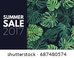 green summer tropical flyer or... | Shutterstock .eps vector #687480574