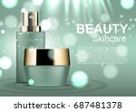 beauty cosmetic ads  night... | Shutterstock .eps vector #687481378