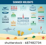 summer labels  logos  tags and... | Shutterstock .eps vector #687482734