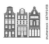 set of 3 shape amsterdam ... | Shutterstock . vector #687491458