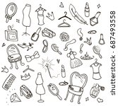 collection of hand drawn cute... | Shutterstock .eps vector #687493558