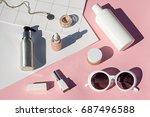 summer pink cosmetics flat lay...   Shutterstock . vector #687496588