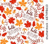 seamless leaf pattern. autumn... | Shutterstock .eps vector #687498610