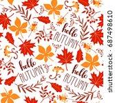 seamless leaf pattern. autumn... | Shutterstock .eps vector #687498610