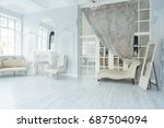 luxury rich living room... | Shutterstock . vector #687504094