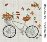 bicycle embroidery with flower... | Shutterstock .eps vector #687504400