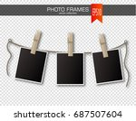 set of photo frames with... | Shutterstock .eps vector #687507604